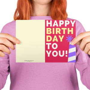 Happy Bday Greeting Card Red