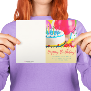 Happy Birthday Greeting Card with Cake